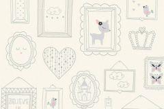 36991-1 cikkszámú tapéta.állatok,csillámos,feliratos-számos,gyerek,különleges felületű,rajzolt,ezüst,fehér,pink-rózsaszín,szürke,lemosható,vlies tapéta