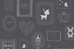 36991-3 cikkszámú tapéta.állatok,csillámos,feliratos-számos,gyerek,különleges felületű,rajzolt,pink-rózsaszín,szürke,lemosható,vlies tapéta