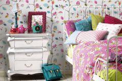 8563-26 cikkszámú tapéta.állatok,gyerek,különleges felületű,rajzolt,természeti mintás,barna,kék,pink-rózsaszín,sárga,zöld,gyengén mosható,papír tapéta