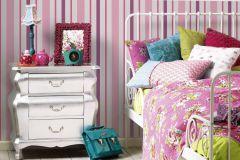 8983-19 cikkszámú tapéta.Csíkos,gyerek,különleges felületű,fehér,pink-rózsaszín,gyengén mosható,illesztés mentes,papír tapéta