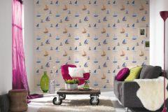 93554-8 cikkszámú tapéta.Gyerek,különleges felületű,rajzolt,barna,bézs-drapp,kék,narancs-terrakotta,gyengén mosható,illesztés mentes,papír tapéta