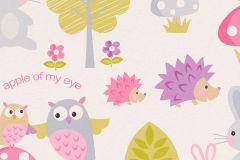 93555-1 cikkszámú tapéta.állatok,feliratos-számos,gyerek,különleges felületű,rajzolt,természeti mintás,fehér,lila,pink-rózsaszín,szürke,zöld,gyengén mosható,papír tapéta