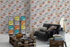 93561-1 cikkszámú tapéta.Feliratos-számos,gyerek,kőhatású-kőmintás,különleges felületű,ezüst,fehér,kék,narancs-terrakotta,piros-bordó,szürke,zöld,gyengén mosható,papír tapéta