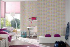 93566-2 cikkszámú tapéta.Gyerek,különleges felületű,különleges motívumos,bézs-drapp,fehér,pink-rózsaszín,sárga,türkiz,zöld,gyengén mosható,papír tapéta