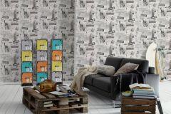 93625-1 cikkszámú tapéta.Feliratos-számos,gyerek,különleges felületű,különleges motívumos,rajzolt,ezüst,fekete,szürke,gyengén mosható,papír tapéta