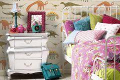 93633-1 cikkszámú tapéta.állatok,feliratos-számos,gyerek,különleges felületű,rajzolt,bézs-drapp,kék,narancs-terrakotta,sárga,zöld,gyengén mosható,papír tapéta