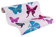 93634-2 cikkszámú tapéta.állatok,gyerek,különleges felületű,fekete,kék,pink-rózsaszín,gyengén mosható,illesztés mentes,papír tapéta