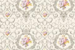 34391-3 cikkszámú tapéta.Barokk-klasszikus,különleges felületű,különleges motívumos,rajzolt,virágmintás,bronz,lila,narancs-terrakotta,pink-rózsaszín,sárga,vajszín,súrolható,vlies tapéta