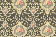 34391-6 cikkszámú tapéta.Barokk-klasszikus,különleges felületű,különleges motívumos,metál-fényes,rajzolt,virágmintás,arany,ezüst,fehér,narancs-terrakotta,piros-bordó,sárga,szürke,súrolható,vlies tapéta