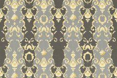 34392-6 cikkszámú tapéta.Barokk-klasszikus,csíkos,különleges felületű,különleges motívumos,rajzolt,virágmintás,arany,fehér,szürke,vajszín,súrolható,vlies tapéta