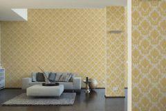 34492-4 cikkszámú tapéta.Barokk-klasszikus,különleges felületű,textil hatású,virágmintás,arany,vajszín,súrolható,vlies tapéta