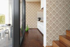 34492-5 cikkszámú tapéta.Barokk-klasszikus,különleges felületű,textil hatású,virágmintás,barna,bézs-drapp,súrolható,vlies tapéta