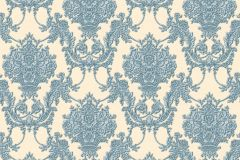 34492-6 cikkszámú tapéta.Barokk-klasszikus,különleges felületű,textil hatású,virágmintás,kék,vajszín,súrolható,vlies tapéta