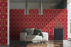 34493-2 cikkszámú tapéta.Barokk-klasszikus,csíkos,különleges felületű,különleges motívumos,textil hatású,virágmintás,arany,piros-bordó,súrolható,vlies tapéta