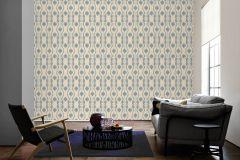 34493-6 cikkszámú tapéta.Barokk-klasszikus,csíkos,különleges felületű,különleges motívumos,textil hatású,virágmintás,kék,vajszín,súrolható,vlies tapéta