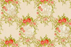 34499-1 cikkszámú tapéta.Barokk-klasszikus,csíkos,különleges felületű,különleges motívumos,textil hatású,virágmintás,bézs-drapp,narancs-terrakotta,zöld,súrolható,vlies tapéta
