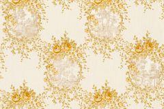 34499-3 cikkszámú tapéta.Barokk-klasszikus,csíkos,különleges felületű,különleges motívumos,textil hatású,virágmintás,arany,vajszín,súrolható,vlies tapéta