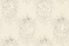 34499-5 cikkszámú tapéta.Barokk-klasszikus,különleges felületű,különleges motívumos,textil hatású,virágmintás,ezüst,szürke,vajszín,súrolható,vlies tapéta