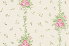 34500-2 cikkszámú tapéta.Barokk-klasszikus,csíkos,különleges felületű,különleges motívumos,természeti mintás,textil hatású,virágmintás,pink-rózsaszín,vajszín,zöld,súrolható,vlies tapéta