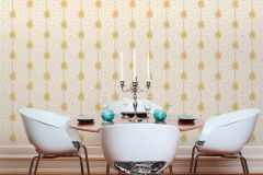 34500-3 cikkszámú tapéta.Barokk-klasszikus,csíkos,különleges felületű,különleges motívumos,természeti mintás,textil hatású,virágmintás,arany,vajszín,súrolható,vlies tapéta