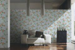34501-1 cikkszámú tapéta.Barokk-klasszikus,különleges felületű,rajzolt,retro,virágmintás,fehér,kék,narancs-terrakotta,zöld,súrolható,vlies tapéta