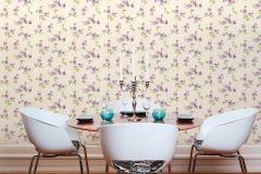 34501-5 cikkszámú tapéta.Csíkos,különleges felületű,különleges motívumos,rajzolt,természeti mintás,virágmintás,fehér,lila,narancs-terrakotta,zöld,súrolható,vlies tapéta