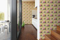 34508-1 cikkszámú tapéta.Barokk-klasszikus,különleges felületű,különleges motívumos,rajzolt,természeti mintás,textil hatású,virágmintás,bézs-drapp,kék,pink-rózsaszín,sárga,zöld,súrolható,vlies tapéta