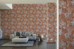 37520-4 cikkszámú tapéta.Természeti mintás,virágmintás,fehér,narancs-terrakotta,lemosható,vlies tapéta