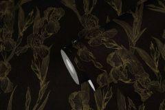 37526-3 cikkszámú tapéta.Rajzolt,természeti mintás,virágmintás,fekete,sárga,súrolható,vlies tapéta