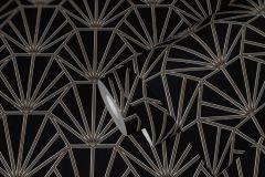 37528-1 cikkszámú tapéta.Geometriai mintás,természeti mintás,fekete,szürke,súrolható,vlies tapéta