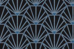 37528-2 cikkszámú tapéta.Geometriai mintás,természeti mintás,fekete,kék,súrolható,vlies tapéta