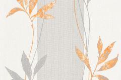 32654-1 cikkszámú tapéta.Csíkos,természeti mintás,virágmintás,fehér,narancs-terrakotta,szürke,lemosható,illesztés mentes,vlies tapéta