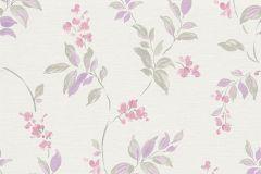 30416-1 cikkszámú tapéta.Virágmintás,gyerek,különleges motívumos,rajzolt,retro,természeti mintás,fehér,lila,pink-rózsaszín,zöld,lemosható,vlies tapéta
