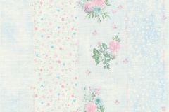 35878-2 cikkszámú tapéta.Csíkos,virágmintás,kék,lila,pink-rózsaszín,türkiz,zöld,súrolható,vlies tapéta