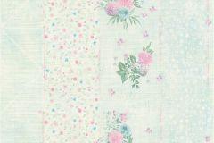 35878-3 cikkszámú tapéta.Csíkos,virágmintás,kék,lila,pink-rózsaszín,türkiz,zöld,súrolható,vlies tapéta