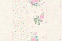 35878-5 cikkszámú tapéta.Csíkos,virágmintás,kék,lila,pink-rózsaszín,vajszín,zöld,súrolható,vlies tapéta