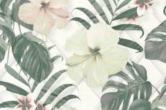 36518-2 cikkszámú tapéta.Természeti mintás,virágmintás,fehér,pink-rózsaszín,szürke,zöld,lemosható,vlies tapéta