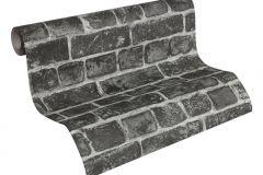 30682-2 cikkszámú tapéta.3d hatású,kőhatású-kőmintás,fekete,súrolható,vlies tapéta