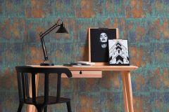 36118-1 cikkszámú tapéta.3d hatású,fémhatású - indusztriális,kockás,barna,bronz,kék,súrolható,vlies tapéta