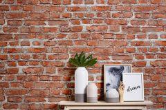 36139-2 cikkszámú tapéta.3d hatású,kőhatású-kőmintás,retro,narancs-terrakotta,súrolható,vlies tapéta