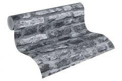 36281-2 cikkszámú tapéta.3d hatású,kőhatású-kőmintás,retro,fekete,szürke,súrolható,vlies tapéta