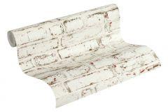 37162-1 cikkszámú tapéta.Kőhatású-kőmintás,fehér,narancs-terrakotta,szürke,súrolható,vlies tapéta
