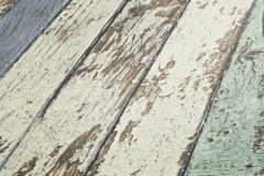 95914-1 cikkszámú tapéta.Csíkos,fa hatású-fa mintás,retro,fehér,kék,zöld,súrolható,illesztés mentes,vlies tapéta
