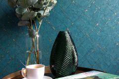 36881-5 cikkszámú tapéta.Absztrakt,különleges felületű,arany,türkiz,súrolható,vlies tapéta