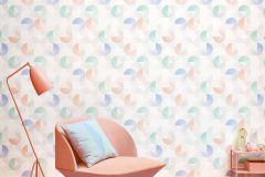 36524-1 cikkszámú tapéta.Absztrakt,geometriai mintás,különleges felületű,fehér,kék,narancs-terrakotta,szürke,türkiz,zöld,súrolható,vlies tapéta