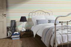 36526-1 cikkszámú tapéta.Csíkos,különleges felületű,fehér,kék,narancs-terrakotta,sárga,zöld,gyengén mosható,vlies tapéta