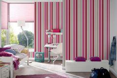 30288-2 cikkszámú tapéta.Csíkos,gyerek,fehér,pink-rózsaszín,piros-bordó,szürke,lemosható,illesztés mentes,vlies tapéta
