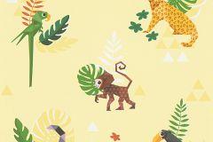 30303-1 cikkszámú tapéta.Absztrakt,állatok,gyerek,rajzolt,barna,bézs-drapp,fehér,fekete,lila,narancs-terrakotta,piros-bordó,sárga,vajszínű,zöld,gyengén mosható,papír tapéta