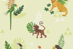 30303-3 cikkszámú tapéta.Absztrakt,állatok,gyerek,rajzolt,barna,bézs-drapp,lila,narancs-terrakotta,sárga,zöld,gyengén mosható,papír tapéta