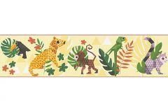 30306-1 cikkszámú tapéta.Absztrakt,állatok,gyerek,rajzolt,barna,bézs-drapp,lila,narancs-terrakotta,sárga,vajszínű,zöld,papír bordűr